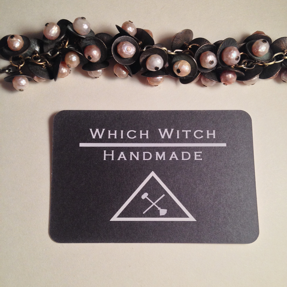 Image of Queen of Swords Sea Tentacle Handmade Brass Faceted Freshwater Pearl Bracelet | Sea Witch