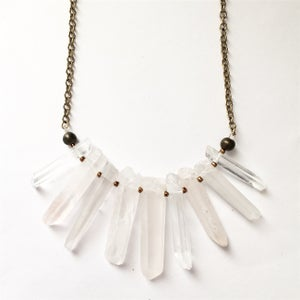 Image of Cloudy Stardust Necklace - with clear / cloudy Quartz Crystal