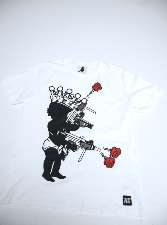 Image of Kid 'N' Crown Uzi Love Urban Fit T-shirt.  EarthPositive® *White/Black*