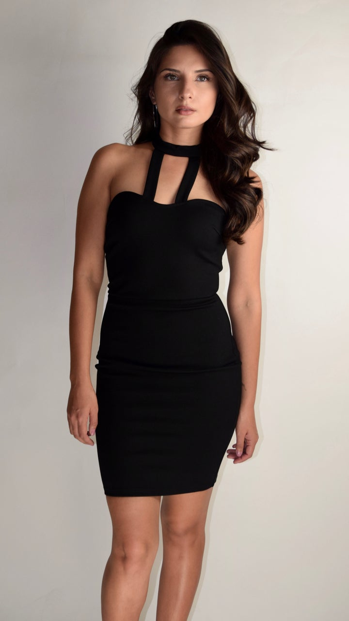 Image of Black Quitting Evening Dress