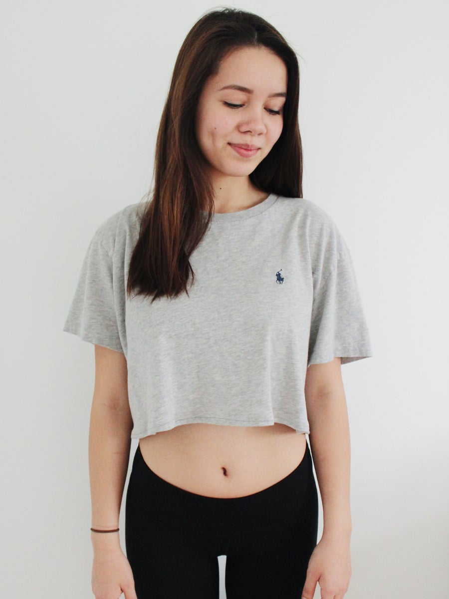 Image of VINTAGE POLO RALPH LAUREN CROPPED T-SHIRT, grey (REWORKED)