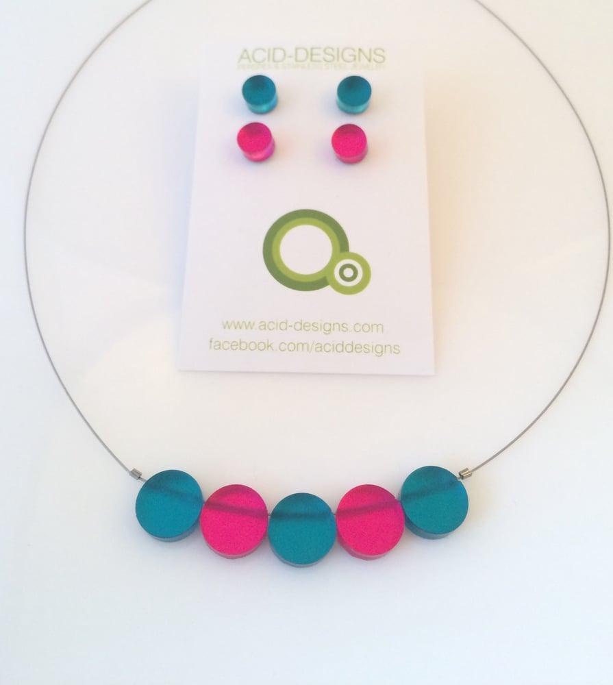 Image of Set náhrdelník & náušnice tyrkysová x fuksiová růžová
