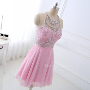 Image of Pink Chiffon A-Line Illusion Sweetheart Beaded Cocktail Dress, Crystal Party Homecoming Dress