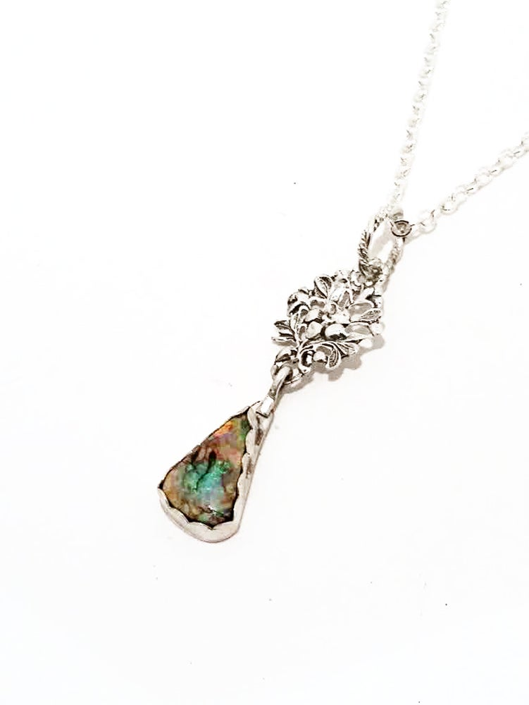 Image of 925 Sterling Silver and Monet Opal Teardrop Floral 20 inch Necklace
