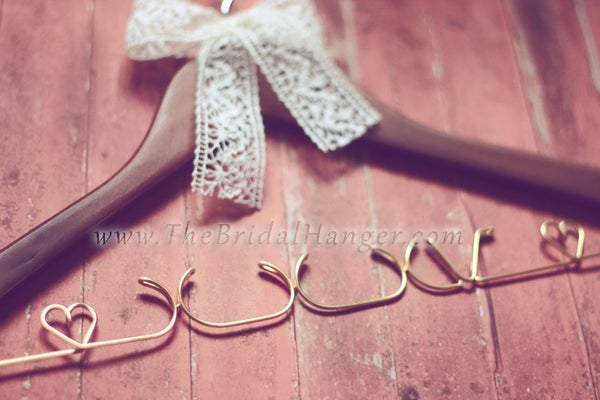 Image of Single Line WALNUT Wedding Hanger