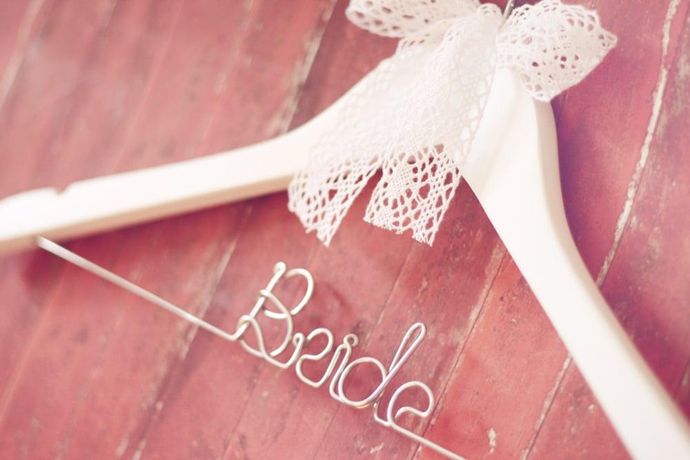 "Image of ""Bride"" or ""Bridesmaid"" Wedding Hanger - white"
