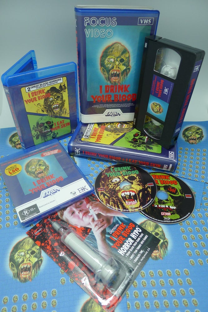 Image of I DRINK YOUR BLOOD - Blu-ray + VHS Bundle