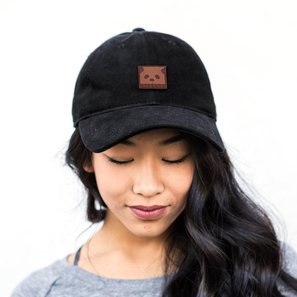 "Image of ""Panda Face"" Dad Hat (Black)"