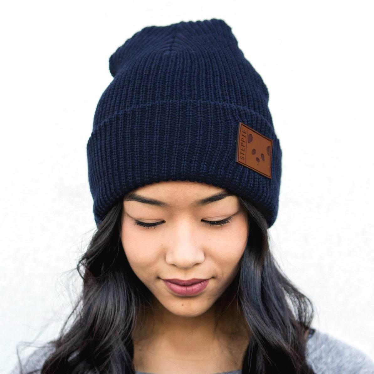 "Steppie Clothing — ""Panda Face"" Beanie (Navy)"