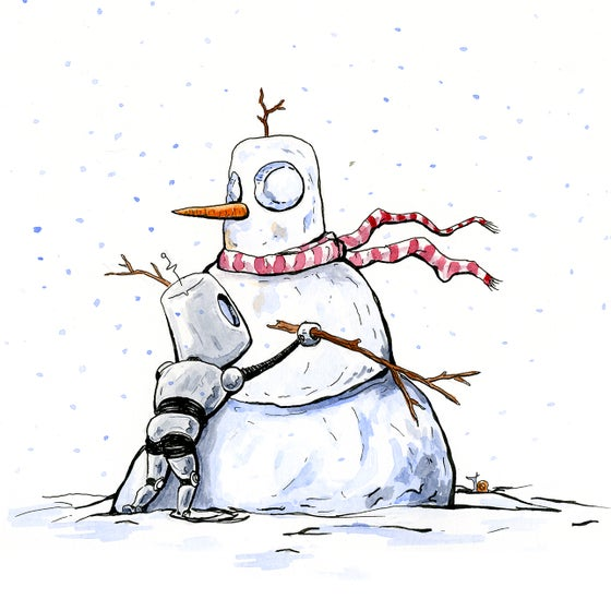 Image of Robot Snowman Holiday Card