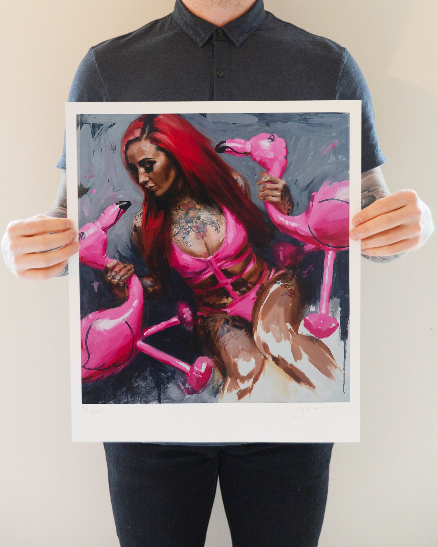 Image of Limited Edition 'FLAMINGO' Lithograph Print.
