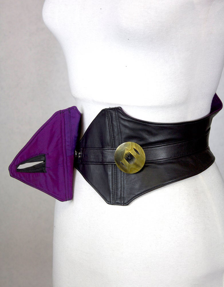 Image of Black Leather w/ Green Button Corset Belt