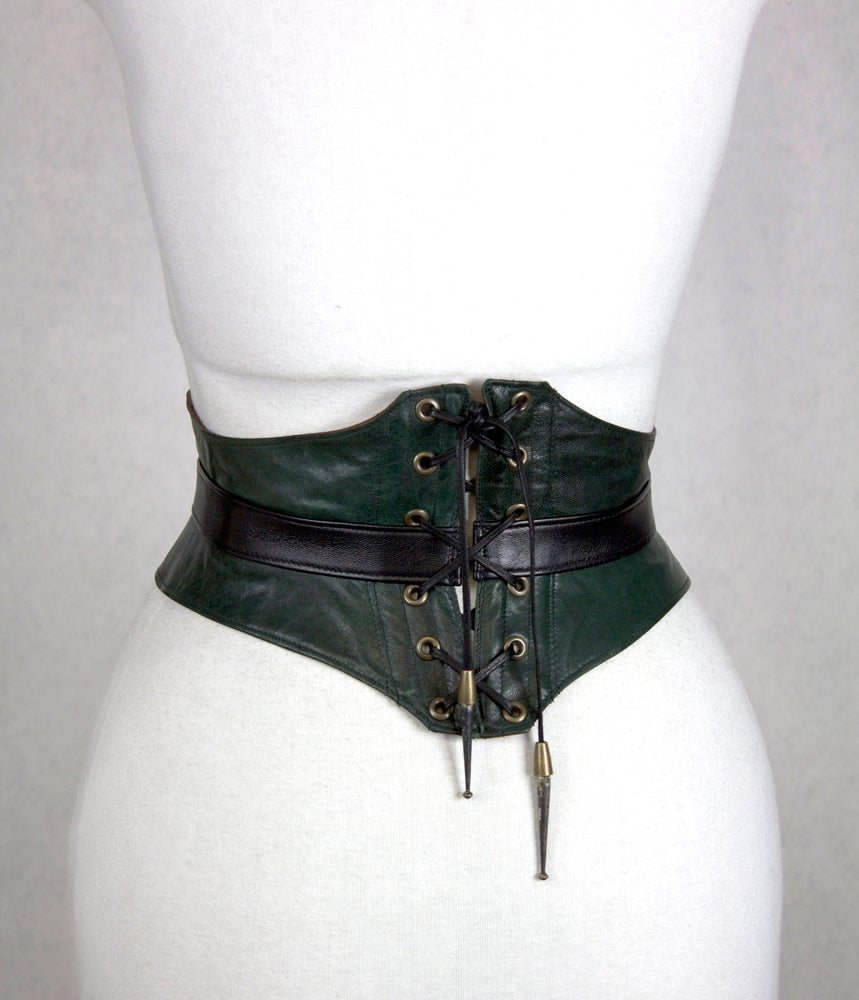 Image of Hunter Leather w/ Brass Button  Corset Belt