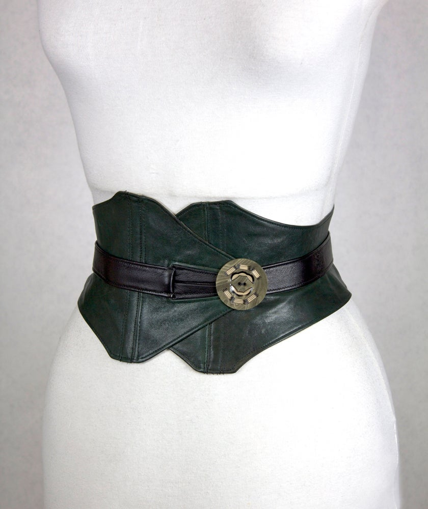 Image of Hunter Leather w/ Resin Button Corset Belt