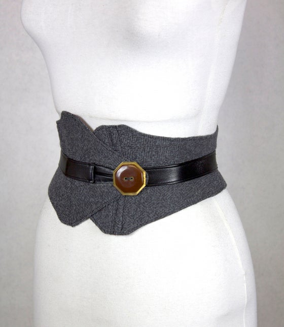 Image of Gray Wool w/ Brass Button Corset Belt