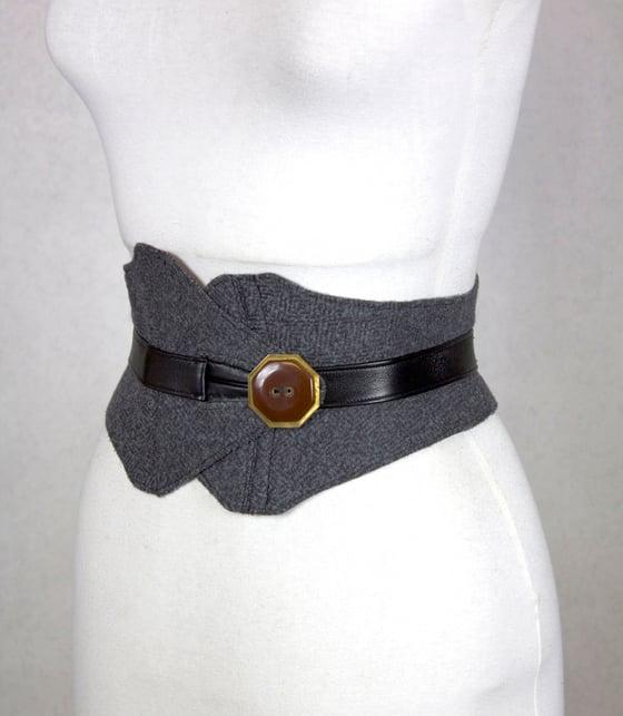 Image of Gray Wool w/ Brass Button Corset Belt