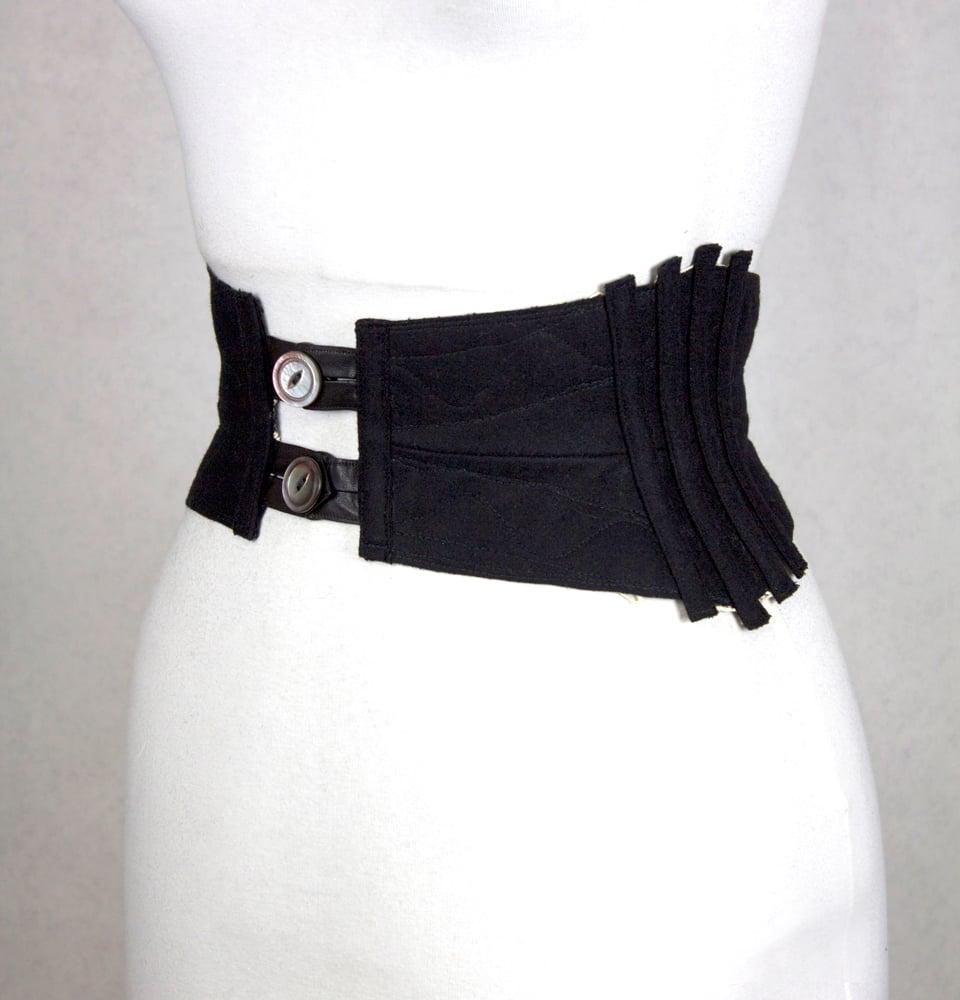 Image of Black Leather w/ White Crochet Reversible Corset Belt