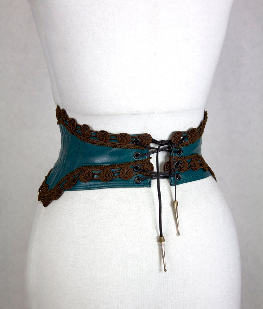 Image of Teal Leather w/ Cocoa Trim II Reversible Corset Belt
