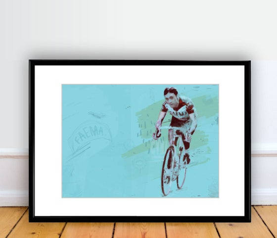 Image of Eddy Merckx FAEMA print A4 - By Matthew Burton