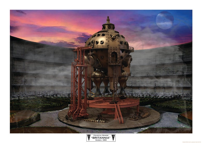 "Image of Herr Döktor's Laboratory Limited Edition A3 Art Print 2- ""The Celestial Sphere BRITANNIA"""