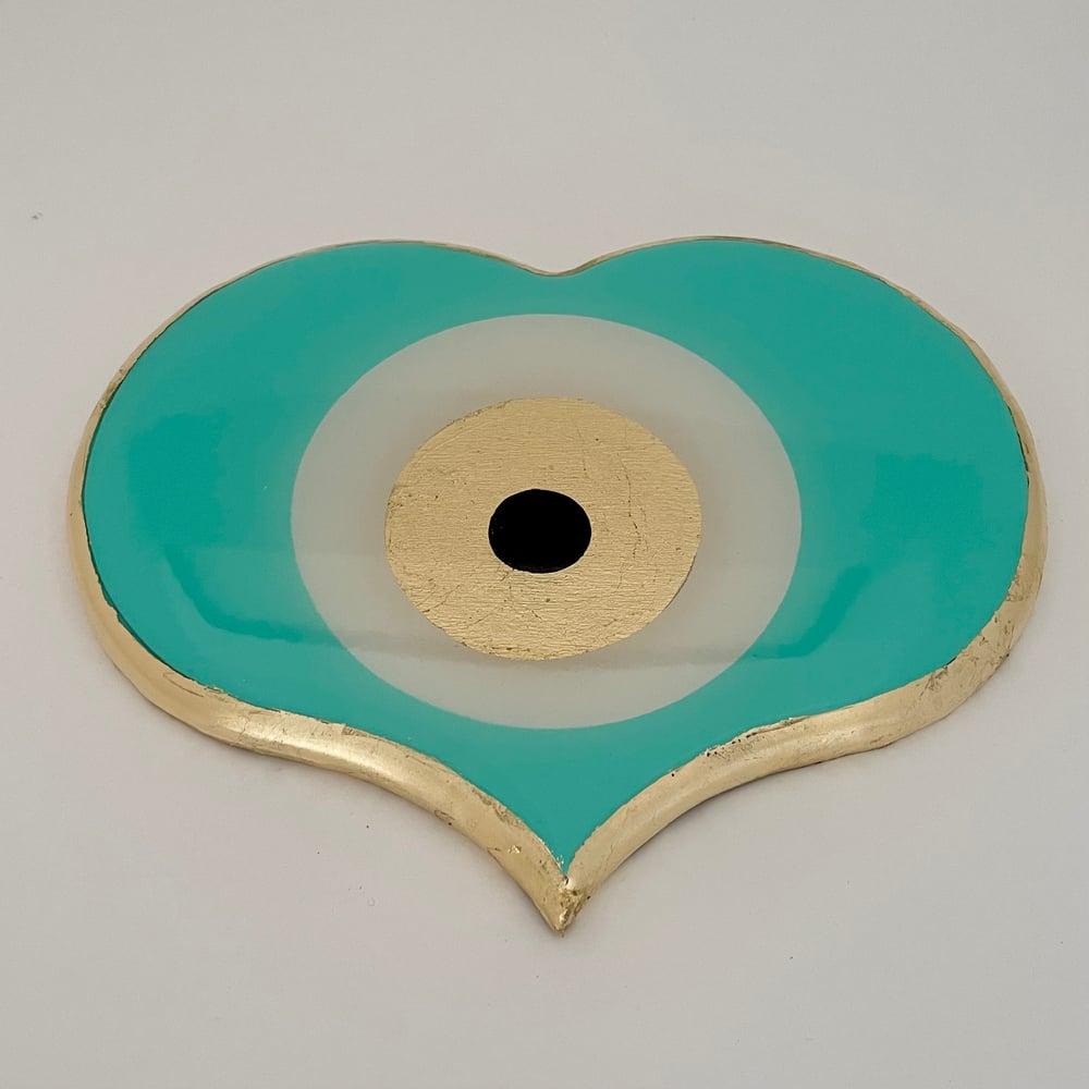 Image of Evil Eye Heart Aqua Light 20cm