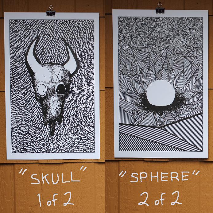 Image of Skull + Sphere Poster Combo