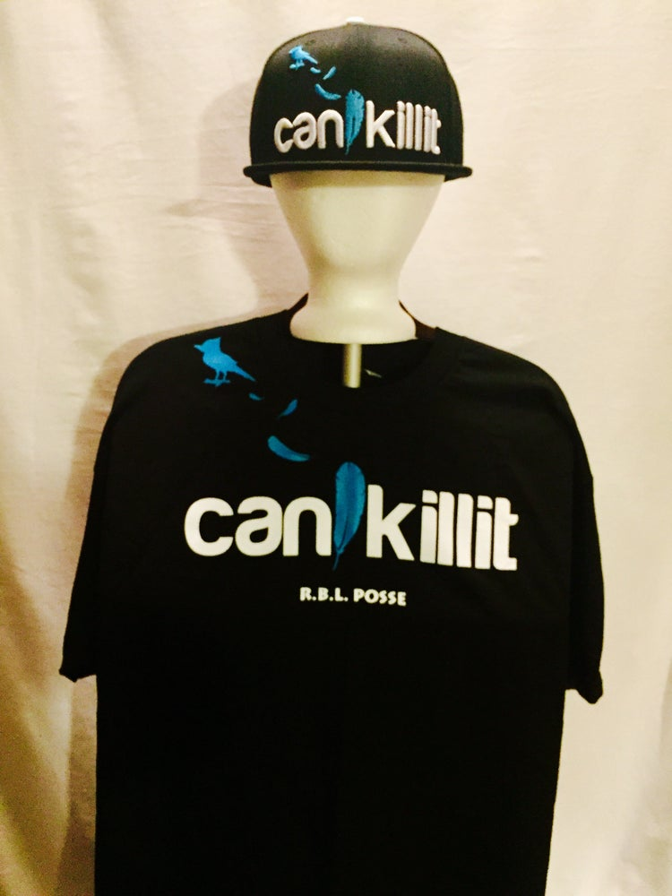 "Image of BLUEBIRD SNAPBACK ""CAN I KILL IT"" (BLACK)"