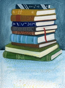 Image of Stack of Books (Original 9x12 gouache)