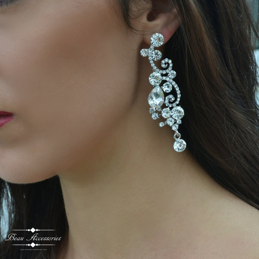 Image of Silver Crystal Droplet Earrings