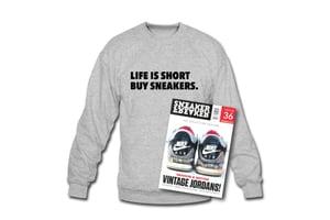 Image of Crewneck Sweatshirt: Life is short Buy Sneakers (Grey - Black)