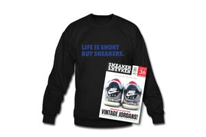 Image of Crewneck Sweatshirt: Life is short Buy Sneakers (Black - Blue)