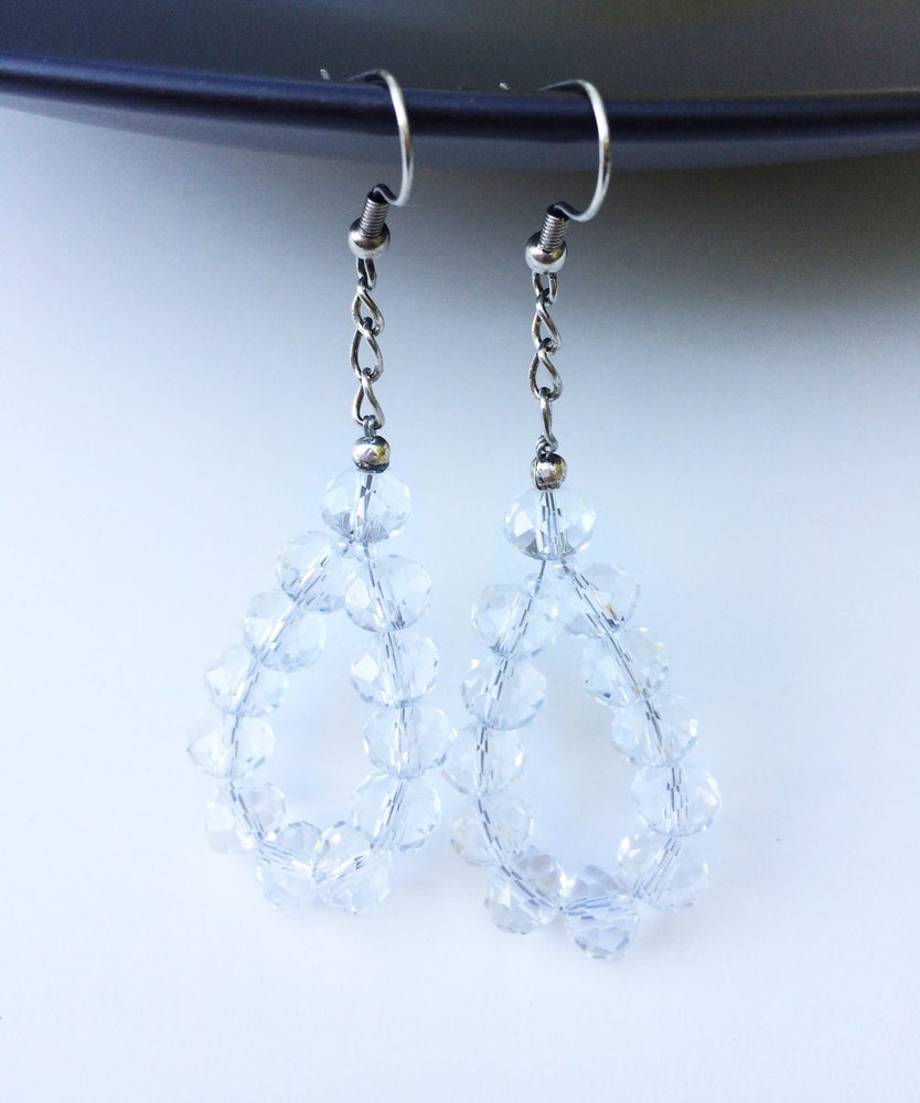 Image of Translucent Crystal Teardrop Earrings