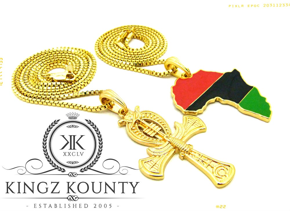 Image of GOLD AHNK w/ R/B/G AFRICA + BOX CHAINS