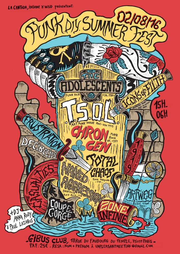 PUNK diy SUMMER FEST screenprinted poster