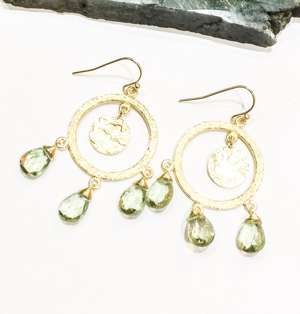 Image of Green Amethyst Chandelier Earrings