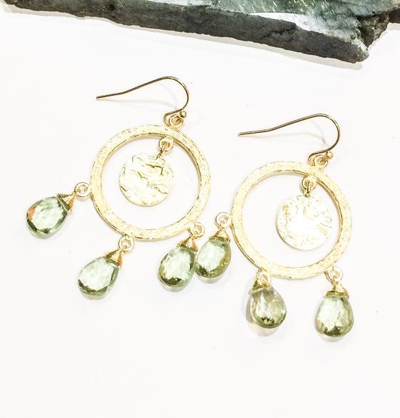 Image of Green Amethyst Chandelier Earrings