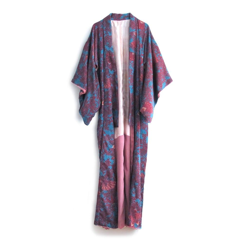 Image of petroleum blue silk kimono w plum flowers and peach lining