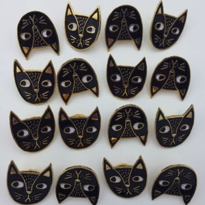 Image of Judgemental Cat Pin-Black