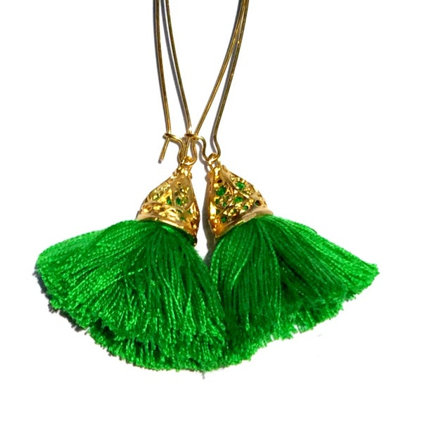 Image of Ltd Ed - Waikiki Tassel Earrings - Emerald
