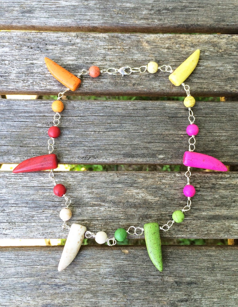 Image of Multicolored Howlite Tooth Necklace