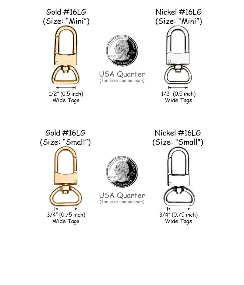 c9ffd880eb9 Clips for Bag Luggage Tags - Two Sizes - Gold or Nickel - Attachable ...