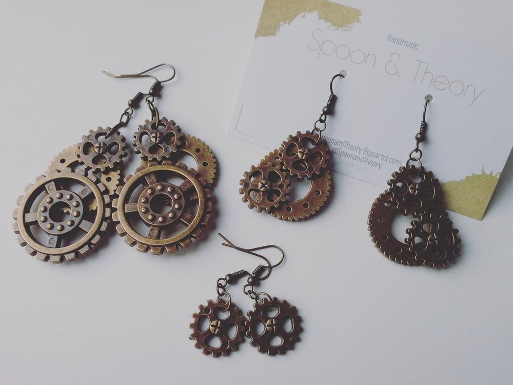 Image of Artisan Steampunk Gear Earrings
