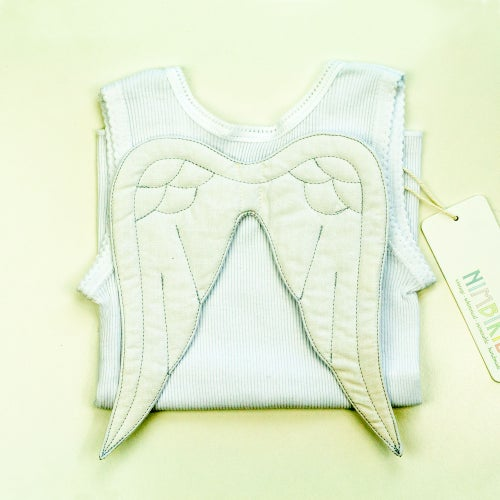 Image of Angel Wing Singlet - White on White
