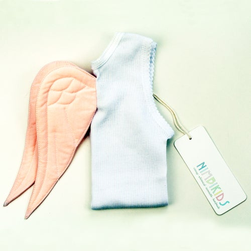 Image of Angel WIng Singlet - Light Pink on White