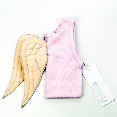 Image of Angel Wing Singlet - Cream on Pink