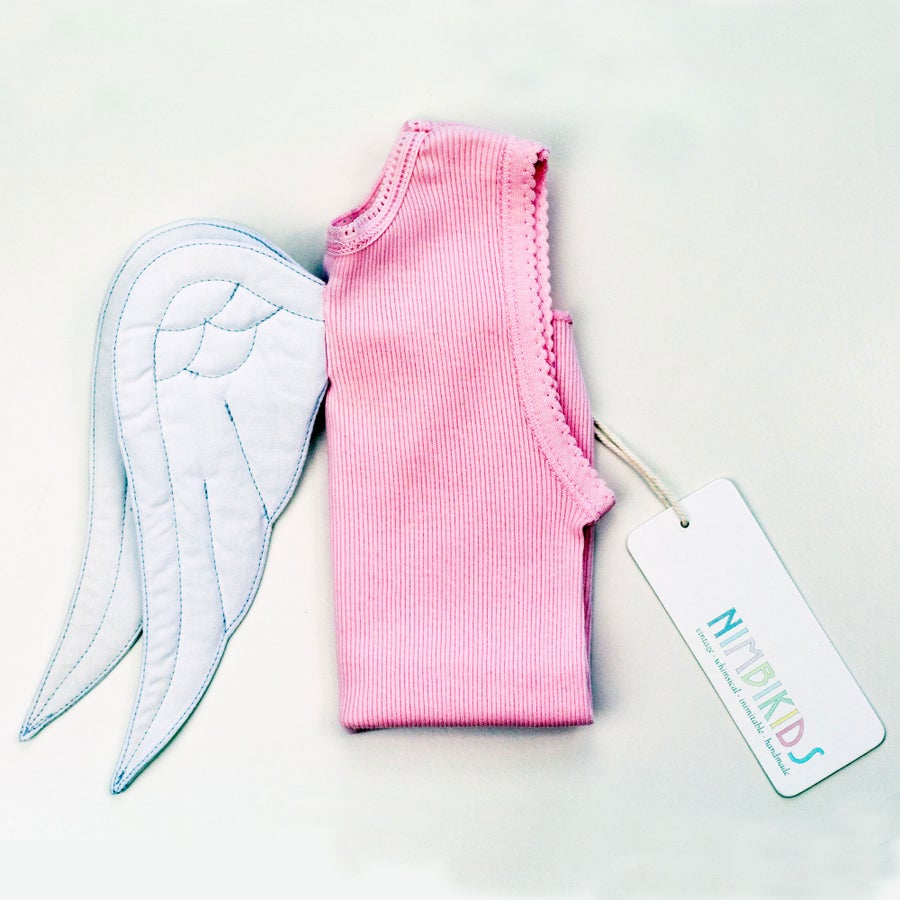 Image of  Angel Wing Singlet - White on Pink