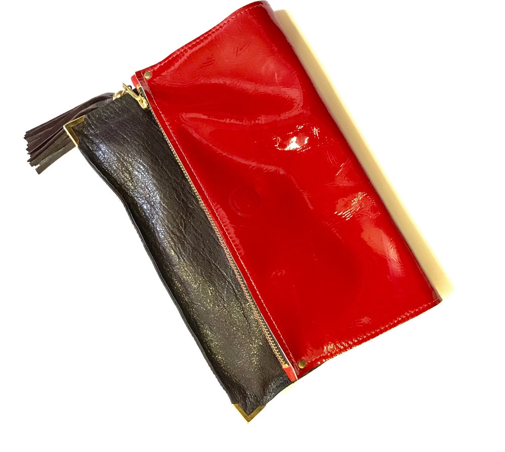 Image of The bizness clutch in red patent leather