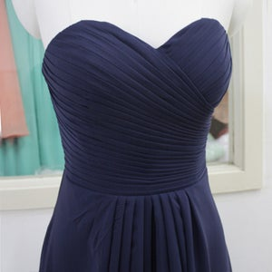 Image of Elegant Navy Blue Chiffon Strapless Ruffles Bridesmaid Dresses, Bridesmaid's Gown With Lace Up Back