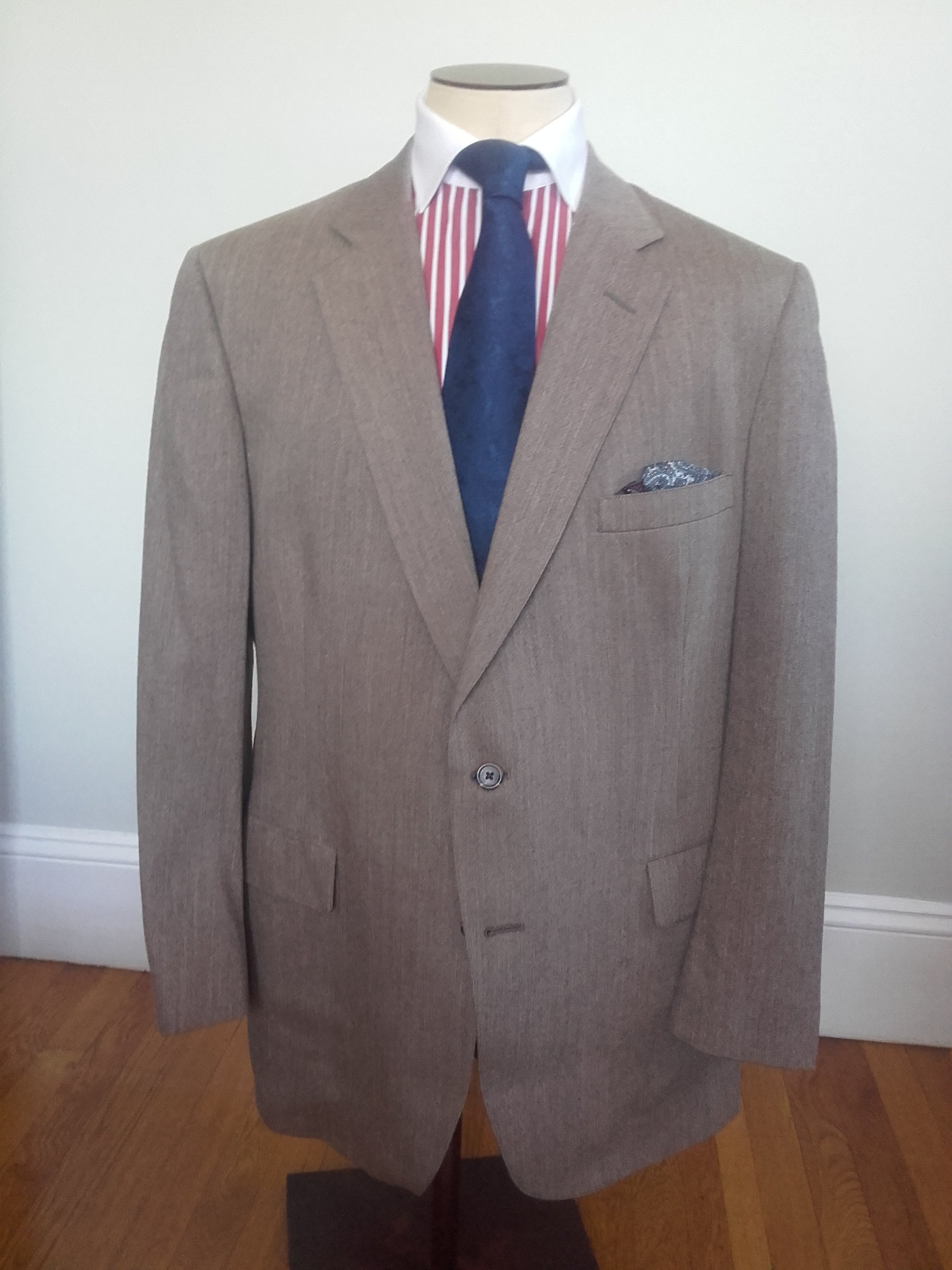 Vintage 1968 76 42r Austin Reed Pure Virgin Wool Half Lined Sports Coat Flute Rye