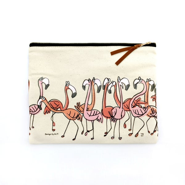 Image of Canvas Pouch - Flamingos